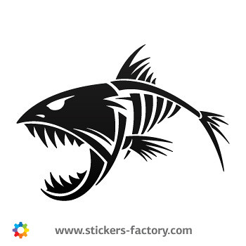 Stickers factory decal skeleton fish bones skull 06164 for Fish skeleton decal