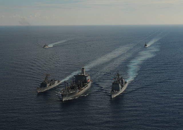 Replenishment Caribbean: Foreign Ships Practice Replenishment At Sea.