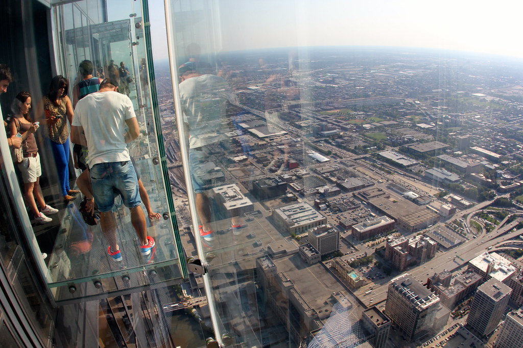 Looking out the glass balcony at the skydeck