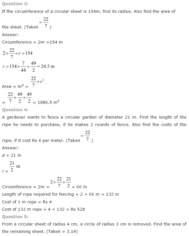 NCERT Solutions for Class 7 Maths Chapter 11 Perimeter and Area Exercise 11.3
