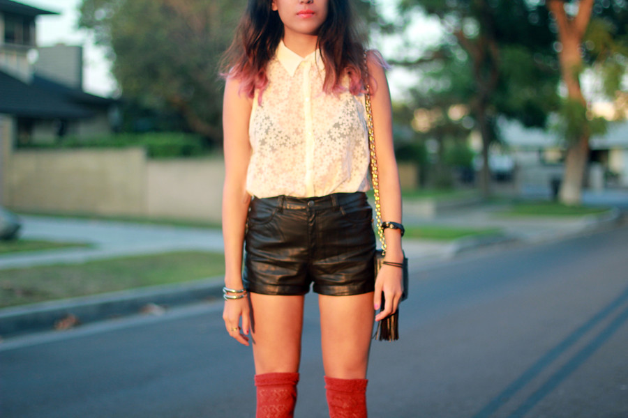 Wasteland daisy button-up, H&M pleather shorts, knit thigh-highs, vintage quilted Chanel purse with tassle