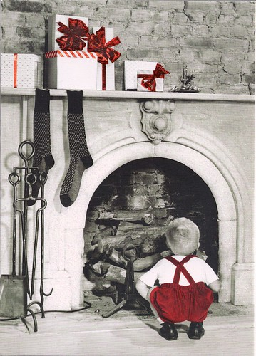 Christmas Little Boy at Fireplace