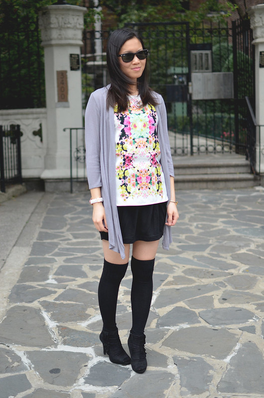 over the knee socks with skirt
