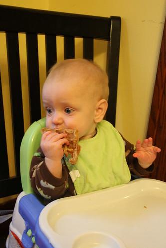 Luke eating a waffle