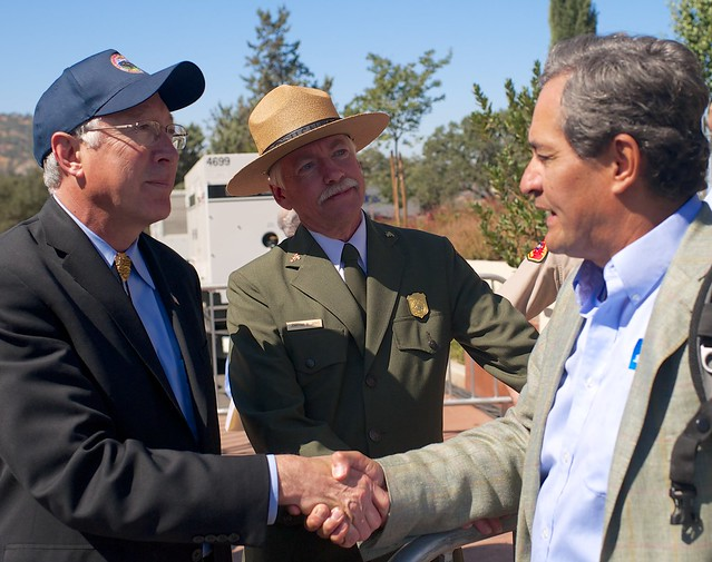President Barack Obama Dedicates César Chávez National Monument. Secretary of Interior Ken Salazar, National Park Service Director Jon Jarvis, The City Project's Robert Garcia.