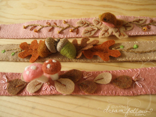 needle felted headbands with embroidery and beads