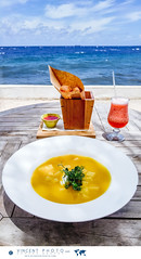 A lunch with a view. Pumpkin soup with crème frai…