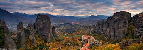 autumn season landscape photography hellas greece monastery sandstones meteora kostas thessaly petrakis