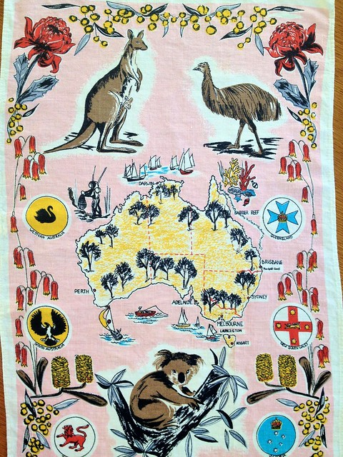 Vintage Regal Rego Screened Tea Towel.
