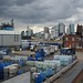 A storm over Canary Wharf, viewed from the Greenwich peninsula