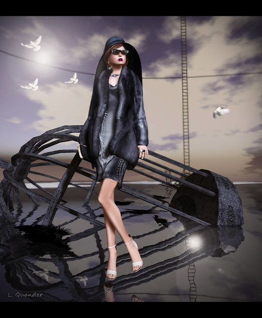 Belgravia Lila Fur Coat - Night & C88 August - V.e. Baroque Shell Dress - Charcoals