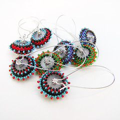 Group of Beaded Bead Flying Saucer Earrings
