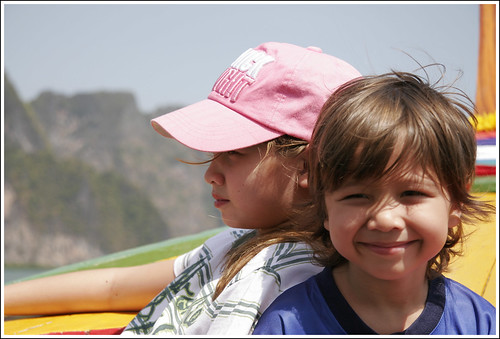 Kids on the longtail boat in Phang Nga Bay