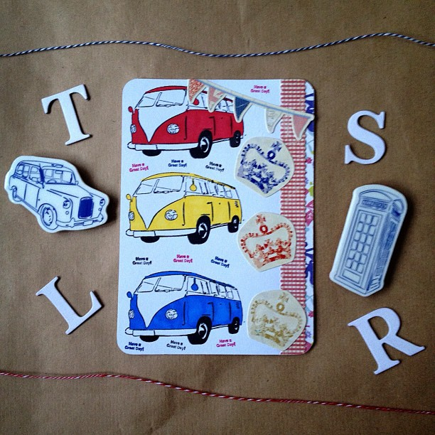 Why did they stop making these as I want one?! #campervan #rubberstamp #crown #postcard #yellow #blue #red #checkered #bunting #british