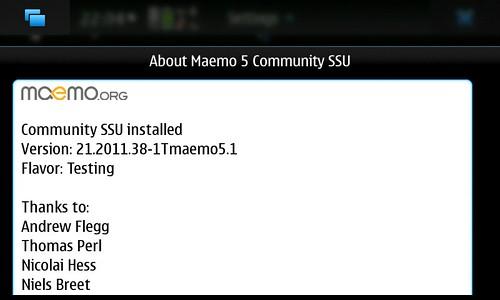 About Maemo5 CSSU Ver.21.2011.38-1Tmaemo5.1