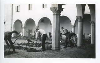 Clark Hall courtyard after the 1938 flood