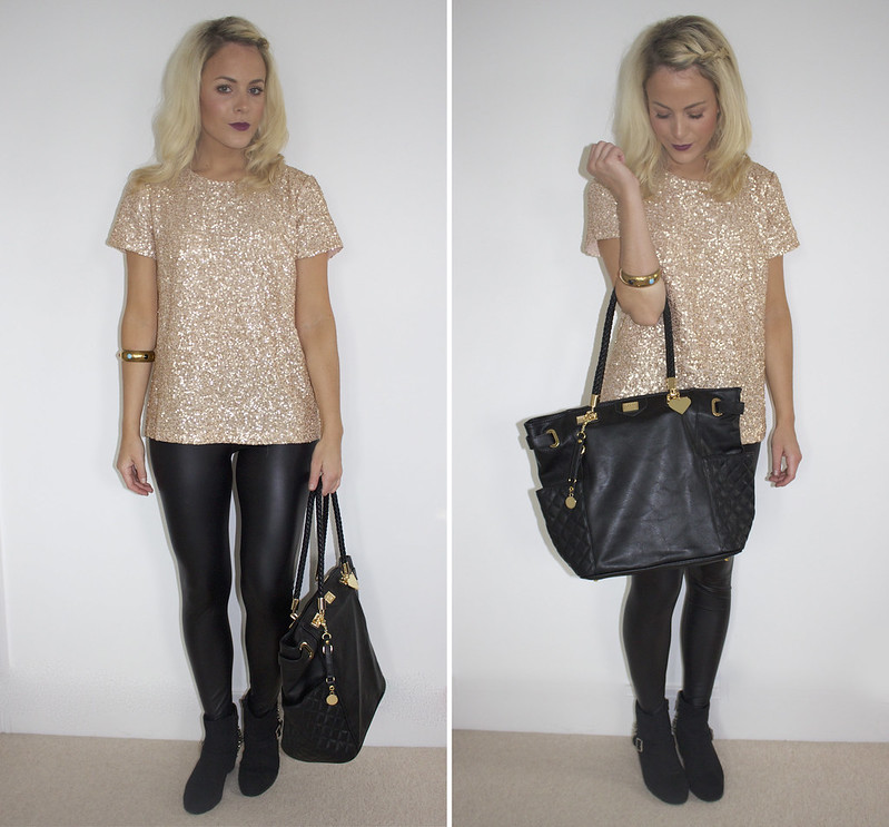 glitter and gold outfit