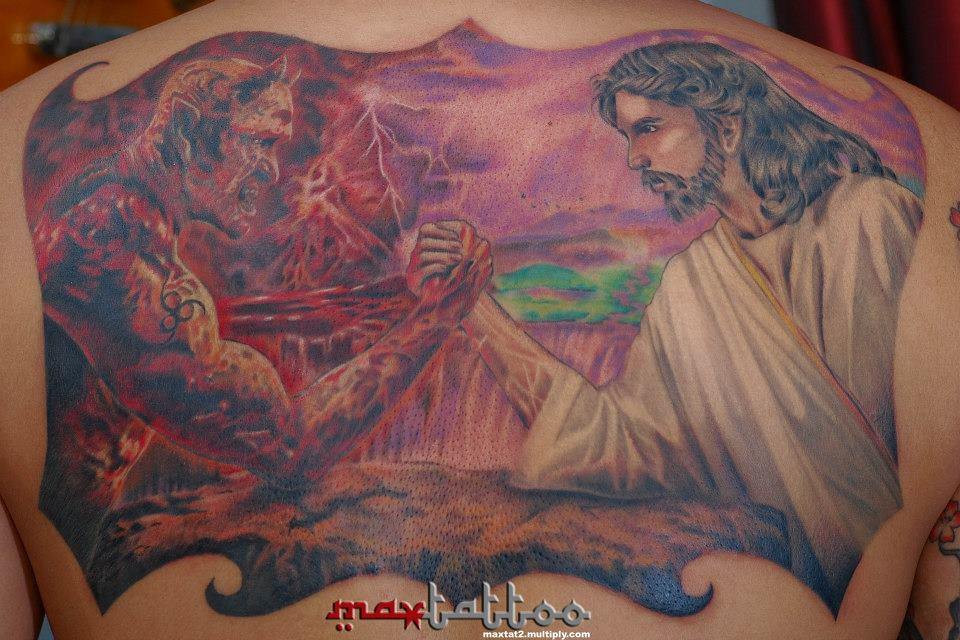 jesus vs satan tattoo a photo on flickriver. Black Bedroom Furniture Sets. Home Design Ideas