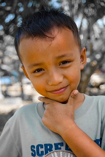 Portrait of a young Indonesian boy on Java