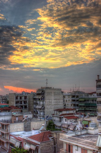 city sunset orange color beautiful clouds canon gold cement greece ugly larissa larisa 2470 canonef2470mmf28l 550d