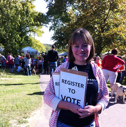 Caroline registering voters at strut your mutt