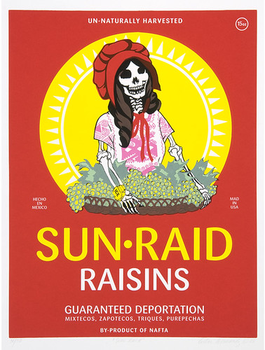 Ester Hernandez, Sun Raid, 2008. Screenprint. Collection of the McNay Art Museum, Gift of Harriett and Ricardo Romo.