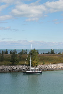 Sailboat next to Meigs Field