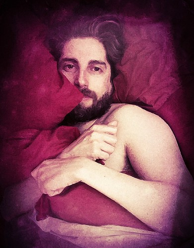 Bearded Man With Red Pillows (Digital Work Over Photograph. 2012)