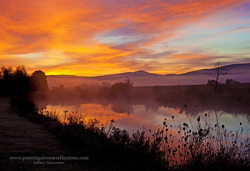 autumn fall sunrise vermont barton farmpond