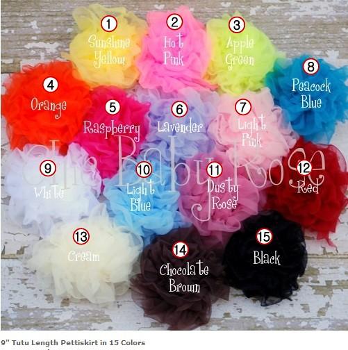 9 tutu color chart