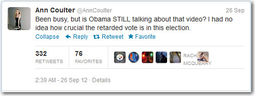 8043470635 a8332928ee Ann Coulter Calls President Obama 'The Retard' On Twitter