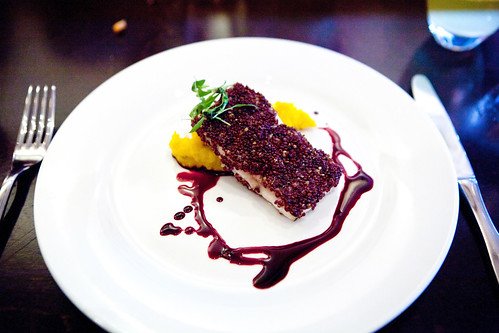 Wild Striped Bass en Costra de Quinoa Roja (Red Quinoa Crust) by Chef Marilu Maderno