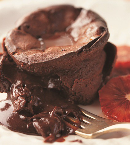 Oozy Chocolate Grand Marnier Cakes with Glazed Blood Oranges