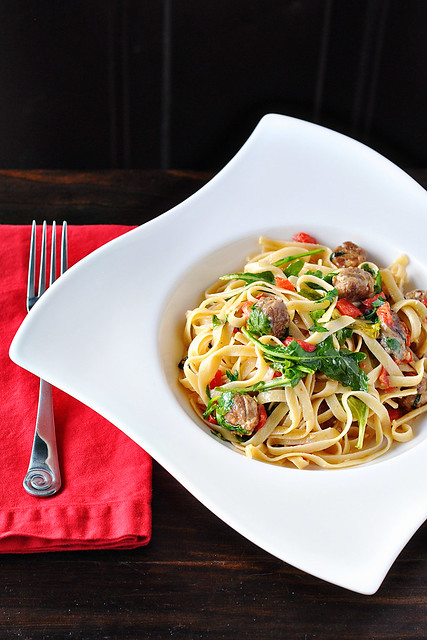Sausage, Red Pepper & Arugula Pasta