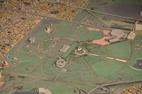 Queens Museum of Art | The Panorama of the City of New York | Flushing Meadows in Queens, including the Unisphere, the Queens Museum of Art (the New York Building), etc