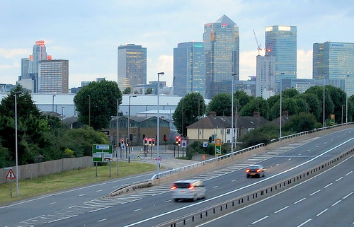 Canary Wharf and traffic at dusk