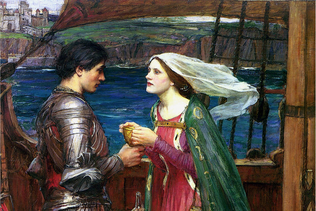 Detail of John William Waterhouse's Tristan and Isolde with the Potion (1916)