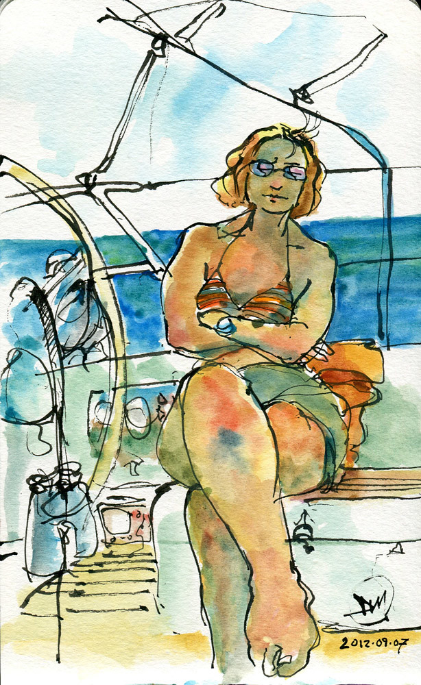 'Sleeping Sister' watercolour sketch by David Meldrum