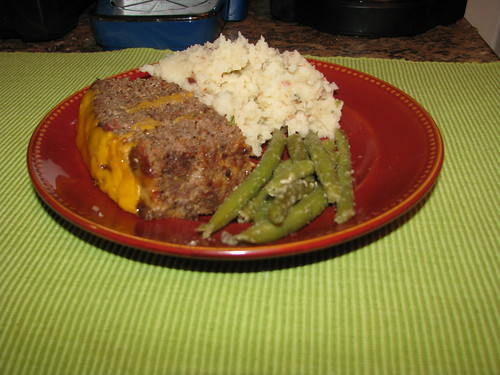 Bacon Ranch Meatloaf, green beans, and mashed potatoes