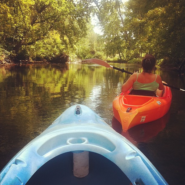 In our happy place. Kayaking on a Wed morning feels like playing hooky. #outdoors #mi