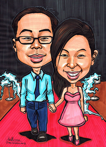 couple caricatures in colour