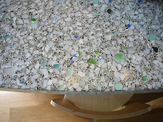 how to make a sea glass countertop
