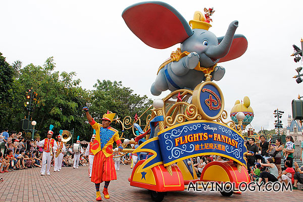 Dumbo the elephant leading the front of the parade