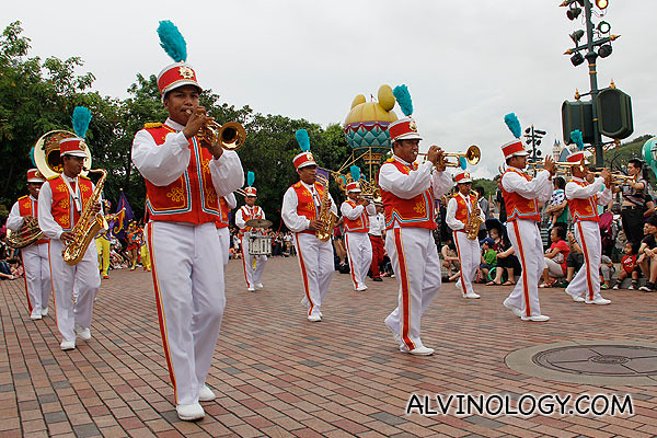 The parade is lead by a mobile band