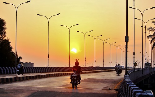 street sunset india man bike composition photography evening streetlight compo clear hues chennai flyover tamilnadu rant tambaram