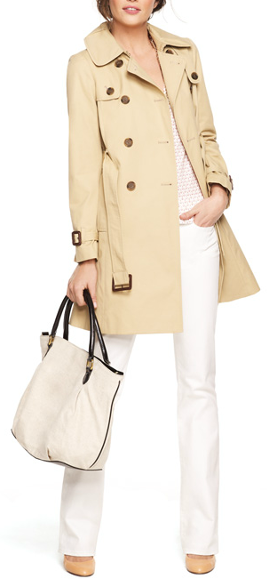 white jeans + trench