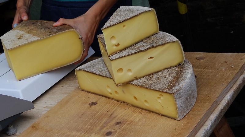 Huge amounts of Swiss cheese