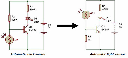 Dark Light Sensor Using Transistor Buildcircuit