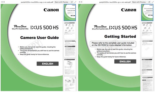 Canon ELPH 520 HS : IXUS 500 HS Manual