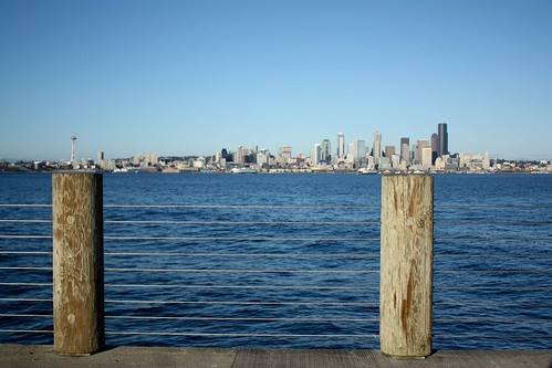 Downtown Seattle from Alki Beach